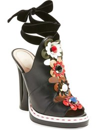 Wholesale Wedding Shoe Ankle Flower - Hot Brand Designer Bohemian Style Flowers Sandals Cutouts Lace Up Dress Sandals Gladiator Heels Soft Leather Women Summer Shoes For Wedding