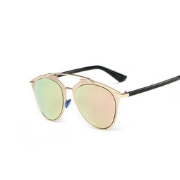 Wholesale Reflections Gold - Wholesale- Cat Eye Mirror Reflection Sunglasses Classic Superstar Rihanna Women or Men Real Rose Gold Sun Glasses Brand Design Female Male