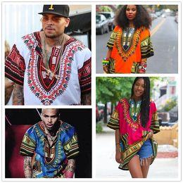 Wholesale Ethnic Clothing Men - African Dashiki Dresses For Women Men Clothes Hippie Shirt Caftan Vintage Unisex Tribal Mexican Top Bazin Riche Ethnic Clothing M055