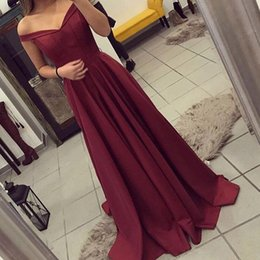 Wholesale Inexpensive Light Blue Dresses - Modest Off the Shoulder Sleeveless Burgundy A Line Prom Dress Satin Evening Party Gown Inexpensive Formal Wear Made to Order