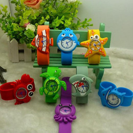 Wholesale Animal Snap Watches - Hot Models Ocean Animal Series Slap Watch Cute Animal Cartoon Slap Snap Watch Silicone mixed design Wrist Watch for Children Gift