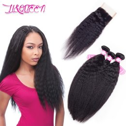 Wholesale Cheap Kinky Straight Human Hair - Peruvian Hair Kinky Straight Human Hair 4x4 Lace Closure With 3 Bundles Natural Black Unprocessed Cheap Huamn Hair From li&queen