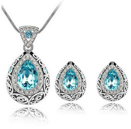 Wholesale Indian Luxury Pearls Jewelry - Top Quality Luxury Vintage Design Silver Plated Colorful Swarovski Crystal stone Necklace Earrings jewelry Set for Women Wedding Jewelry