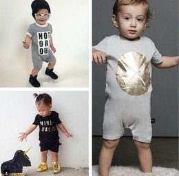 Wholesale Toddlers Short Tights - INS Baby romper suit Cotton short sleeve letter Printing rompers boys girls costumes Toddlers bodysuits tights sets
