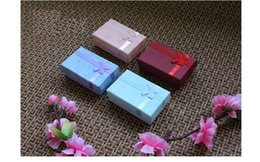 Wholesale Bow Jewelry Boxes Wholesale - Wholesale 24pcs lot Red Blue Turquoise Paper Necklace Box Vintage Bow Gift Boxes for Stud Earrings Double Rings Jewelry sets BX-03