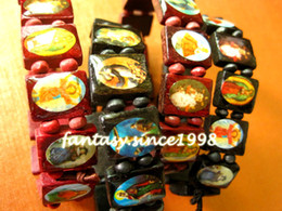 Wholesale wholesale jesus pieces - Brand New 24 Pieces Red&Black Jesus Christ Bible natural Wooden Stretchable Cuff Bracelets