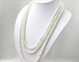 """Wholesale long cultured pearl necklaces - Free Shipping >>>>Super long 7-8mm White Akoya Cultured Pearl Necklace 50"""" AAA0066"""
