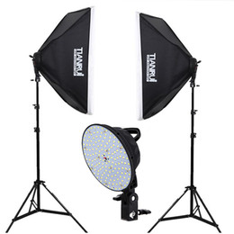 Wholesale Stands For Backdrops - LED Photography Continuous Lighting Kit 2x5500K LED Lights 2x 50x70cm Softbox +2x Light Stand+1.6*2M backdrop for photo studio