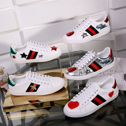 Wholesale Embroidery Lace Shoes - Spring fall men and womens flats shoes Genuine cow Leather students running shoes embroidery lace up low top sneakers unisex brand G shoes