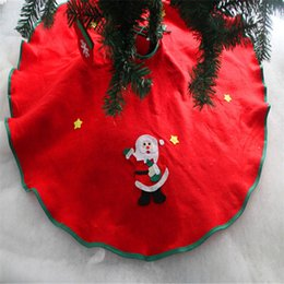 Wholesale Apron Patterns - Wholesale-2017 Merry Christmas 2x Santa Pattern Christmas Tree Skirt Aprons Bottom Decoration Edge 90cm Non-woven for Home Decor SD103