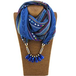 Wholesale Scarf Collar Pendant - New design infinity scarves Colorful printed chiffon round collar Acrylic beads pendant scarf jewelry scarves for women