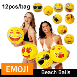 "Wholesale Family Swimming Pools - Emoji Beach Ball For Adults Kids Inflatable PVC 12"" Family Holiday Summer Party Favors Swimming Pool Toys DHL Free Shipping z028"