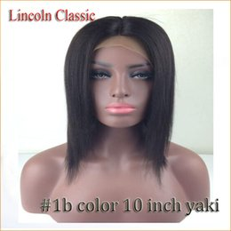 Wholesale Bob Strap - short bob #1b color full lace wigs heat resist straight glueless brazilian yaki straight lace front wig and middle part with combs&straps