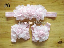 Wholesale Chiffon Sandals - Wholesale- Baby mini chiffon flower headbands + baby barefoot Sandals Baby Newborn Headband Accessory