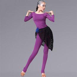 Wholesale Stirrup Pants For Women - 2017 Lady Latin Dance Costumes For Woman Long Sleeve Top&Stirrup Pant&Hip Scarf Blue Purple Black Paso Doble Regata Feminina DQ13126