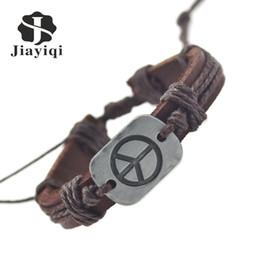 Wholesale Men Peace New Bracelets - Jiayiqi 2017 New Genuine Peace Leather Bracelets For Women Men Bracelets & Bangles Fine Jewelry Summer Style