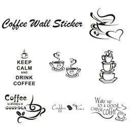 Wholesale Wall Quotes For Kitchen - Coffee Cup With Heart Vinyl Quote Restaurant Kitchen Removable Wall Stickers DIY Home Decor Wall Art Mural Free Shipping