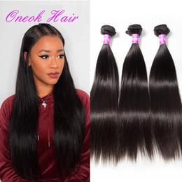 Wholesale Human Wigs Hair Pieces - Brazilian Virgin Straight Hair Remy Human Hair Wigs Brazilian Peruvian Malaysian Human Hair Extensions 3 Bundles Cheap High Quality ONEOK