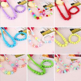 Wholesale Candy Color Bead Necklaces - Korea Baby Girls Accessories Colorful Pure Color Bead Necklace Jewelry Multi-color Candies Bead Children Necklace Round Necklace