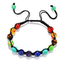 Wholesale Balance Hand - Hot Sale Trendy Hand-woven 7 Chakra Bracelets For Men Women Rhinestone Reiki Prayer Stones Healing Balance Beads Bracelet