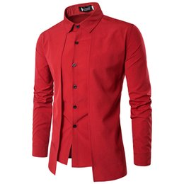 Vestido de dos piezas de los hombres online-Camisas para hombres 2017 Long-Sleeved Casual Fake Two Pieces Chemise Homme Sólido Vestido de llegada High Quality Men's Shirts XXL DHL