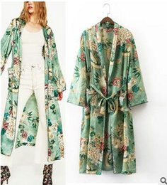 Wholesale Japanese Kimono Shirt - Elegant Floral printed kimono blouses shirt women fashion kimono japanese long cardigan Summer bohemian beach belt sashes casual blouses new
