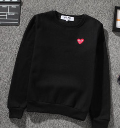 Wholesale Heart Sweater Xl - Fall burst models PLAY embroidery hearts classic couple men and women sweater plus velvet padded hoods sweater