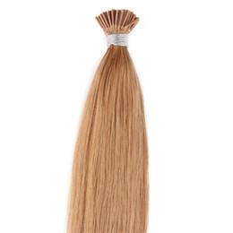 Wholesale 27 I Tip Hair - #27 Honey Blonde Straight Unprocessed peruvian i stick i-tip Human hair extensions Brazilian human hair pre-bonded hair extensions 50 gram