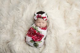 Wholesale Envelope Baby - Newborn Infant swaddle baby boys girls rose flowers printed blanket+bows hair bands 2pc sets babies towel swaddle blanket sleeping bag T0425