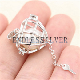 Wholesale Sterling Silver Heart Locket Pendant - Wishing Pearl Cage Pendant 925 Sterling Silver Jewellery Heart Key Openable Locket Pendant Mounting for Pearl Party