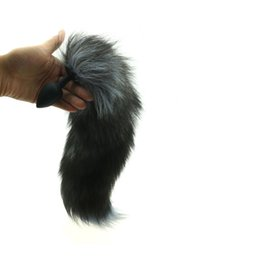 Wholesale Adult Animal Games - Fetish Black Silicone Animal Fox Tail With Anal Butt Plug Dildo Adult Games Anal Sex Toys For Woman Men Masturbation