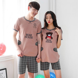 Wholesale Summer Lovers Sleepwear - Wholesale- Free shipping 2016 New Lover Pajamas Set Summer Short Sleeved Women Pijamas Men Pajamas Sleepwear Suit Adult Pijama Korea style