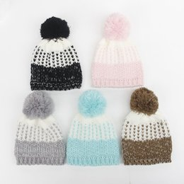 Wholesale Baby Knit Hat Blue - New Baby Ball Wool Beanie Winter Knitted Hats Warm Knitted Beanie Knit Cap Pompoms Ball Beanies Cap babies fashion Crochet Knitting Hats