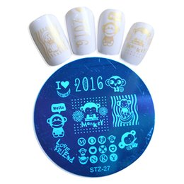 Wholesale Nails Monkeys - Wholesale-1pcs New 2016 Monkey Designs Nail Stamping Plates Image Stamp Polish Manicure Templates Stainless Steel Nail Art Stencils STZA27
