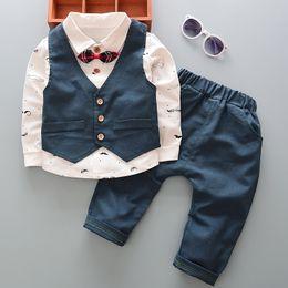 Wholesale Spring Boys 3pc Sets - Baby boys sets fashion children bows beard printed shirt+waistcoats+pants 3pc clothing sets fit1-6T 2017 new kids autumn clothing T3975