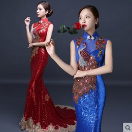 Wholesale embroidered cheongsam dress - 2017 New Evening Dress Chinese Style In Cheongsam Mermaid Sheath High Collar Lace-up Back Floor-Length Vintage Unique Sequin Runway Dress