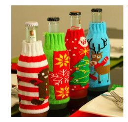 Wholesale Knitted Bottle Cover - Bottle Cover Bag Christmas Party Decorations Ornaments Elk Knitted Snowmen Bags Beer Bottle CoverTree Xmas Party Supplies DHL Free Shipping