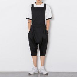 Wholesale Japan Style Plus Size Fashion - Wholesale-Mens Jumpsuit Fashion Male Bib Shorts Overalls Casual Loose Harem Hip-Hop Low Crotch Trousers Jumpsuit Plus Size