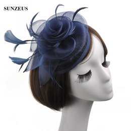 Wholesale Navy Blue Feather Hat - Fashion Ladies Linen Hat Navy Blue Mother Of The Bride Hat Vintage Feather Bride Flower Headpiece