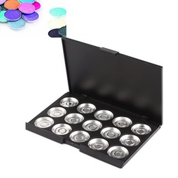 Wholesale Eyeshadow Palette 26mm - Wholesale-15 PCS 26mm Empty Cosmetic Pan Makeup Aluminium Case Empty Palette Pan Magnetic Empty Palette For Eyeshadow #4885