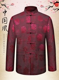 Wholesale Traditional Chinese Wedding Clothes - Wholesale- Tang Suit Chinese Classical Hanzi Traditional Clothes Oriental Button Design Mandarin Collar Wedding Suit Jacket