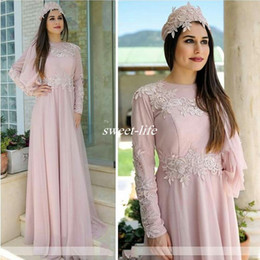 tulle dress hijab Promo Codes - Pink Long Sleeve Women Formal Evening Dresses Crew Neck Appliqued A-Line Tulle Muslim Hijab Mother of the Bride Dress Formal Wear Plus Size