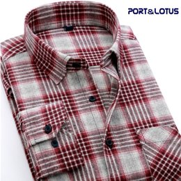 Wholesale Thickening Plaid Shirt - Wholesale- Port&Lotus Men Shirt Casual Long Sleeve Plaid 100% Cotton Thicken Colorful Spring Autumn 150 Men Clothes Camisa Masculina