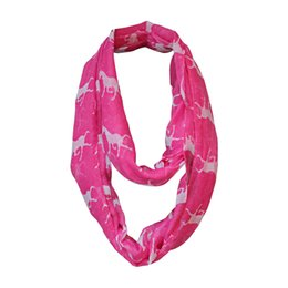 Wholesale Red Loop Scarf - Wholesale-Hot Selling Running Horse Print Infinity Scarf Ladies Women Viscose Animal Snood Loop Circle Ring Scarves Cheap Free Shipping