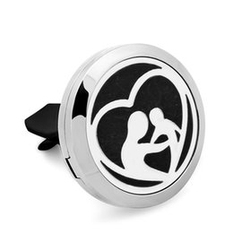 Wholesale Essential Oils For Children - 5PCS Mother Child Magnetic 316L Stainless Steel Car Perfume Locket For 30MM Essential Oil Diffuser With Free Pads