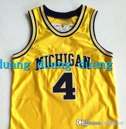 Wholesale Customized Letter - High Quality Men's #4 Chris Webber Michigan College Basketball Jerseys Throwback Navy Yellow Stitched Jerseys Customize Any Size