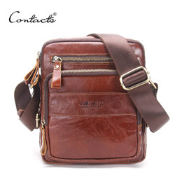 Wholesale Cross Hot Sale - CONTACT'S Genuine Cow Leather Men Bags ipad Handbags Male Messenger Bag Man Crossbody Shoulder Bag Men's Travel Bags Hot Sale