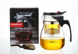 Wholesale Glass Heat Resistant Teapot Sets - High quality Kamjove Glass Gongfu Tea Maker Press AUTO-OPEN Art tea Cup Teapot with Infuser TP-757 700ml elegant style