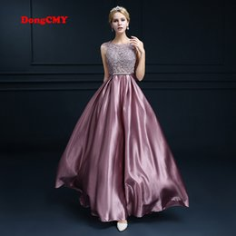 Wholesale Taffeta Robe - New 2017 double-shoulder robe de soiree long lace pink color plus size formal elegant fashion vestido longo evening dress