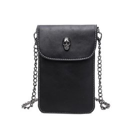 Wholesale Skull Design Bags - Wholesale-New arrival mini Skull design chain bag candy colors messenger bag small PU leather women bags cute simple phone bags WLHB1406-2
